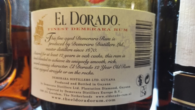 Rum El Dorado 12, kontretykieta